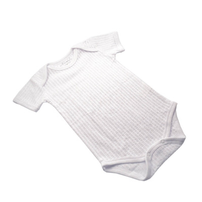 White Self Stripe Onesie