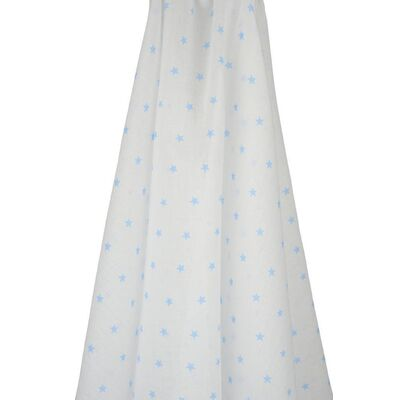 White Muslin Wrap with Blue Stars