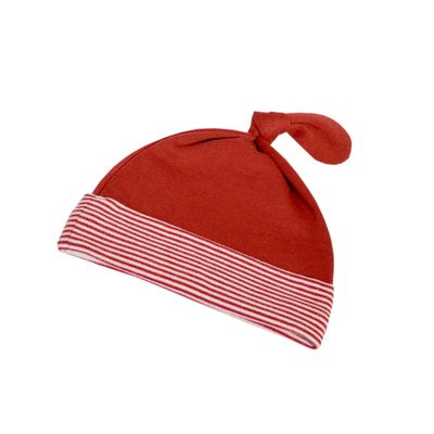 Red French Stripe Knot Hat