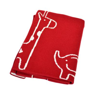 Red and Cream Cotton Safari Blanket