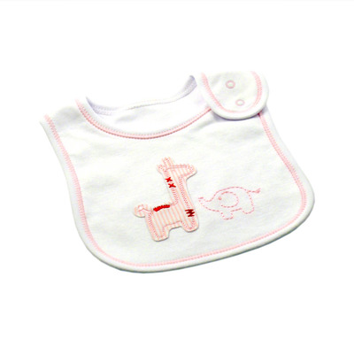 Pink and White Safari Bib