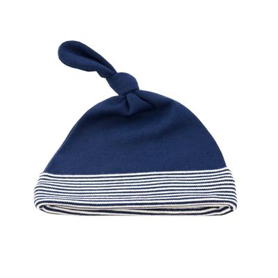 Navy French Stripe Knot Hat