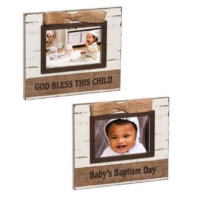 Shabby Chic Baptism 6x4 Wood Frame - God Bless This Child