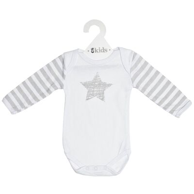 White Long Sleeve Grey Star Onesie