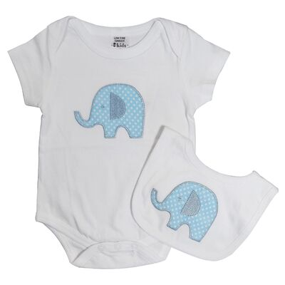 Blue Elephant Onesie and Bib Set