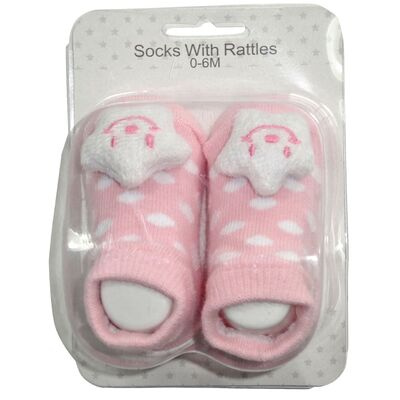 Socks with Rattles - Pink Star