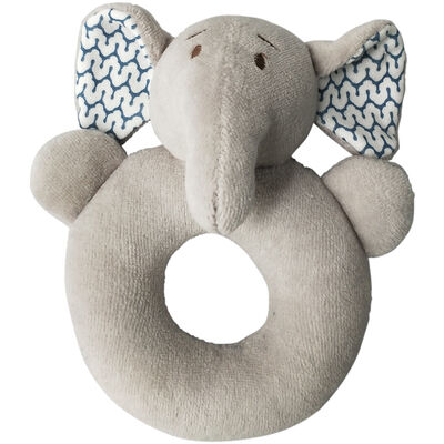 Elephant Blue Grey Rattle Ring  15cm