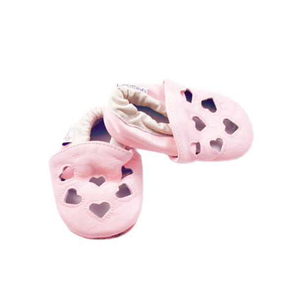Pink Love Heart Leather Shoes