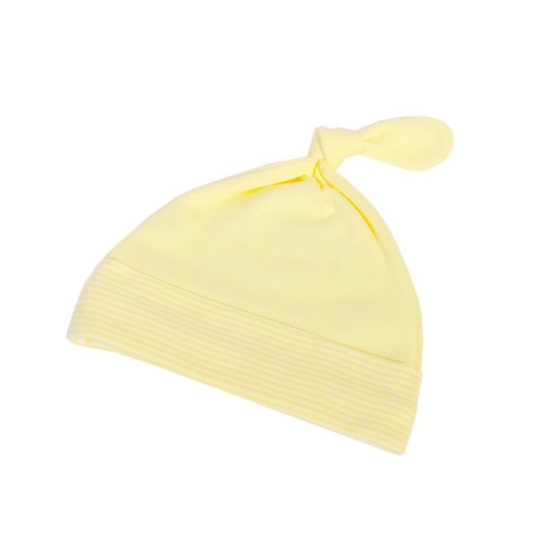 Lemon French Stripe Knot Hat