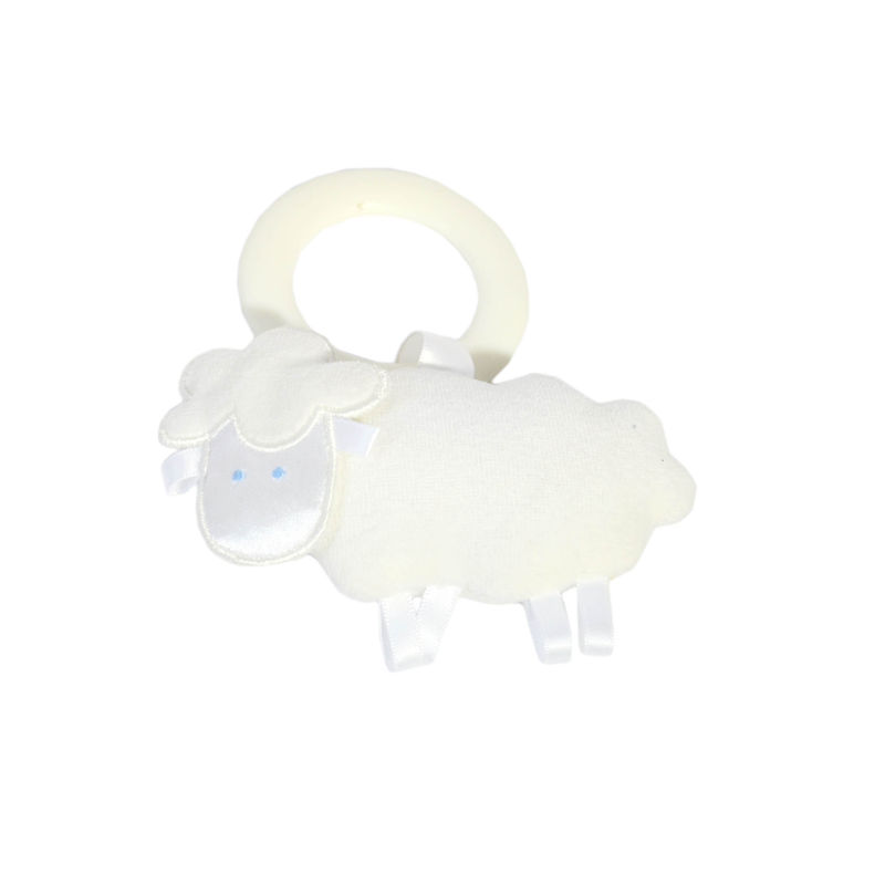 Sheep Teething Ring Rattle Cream Velvet