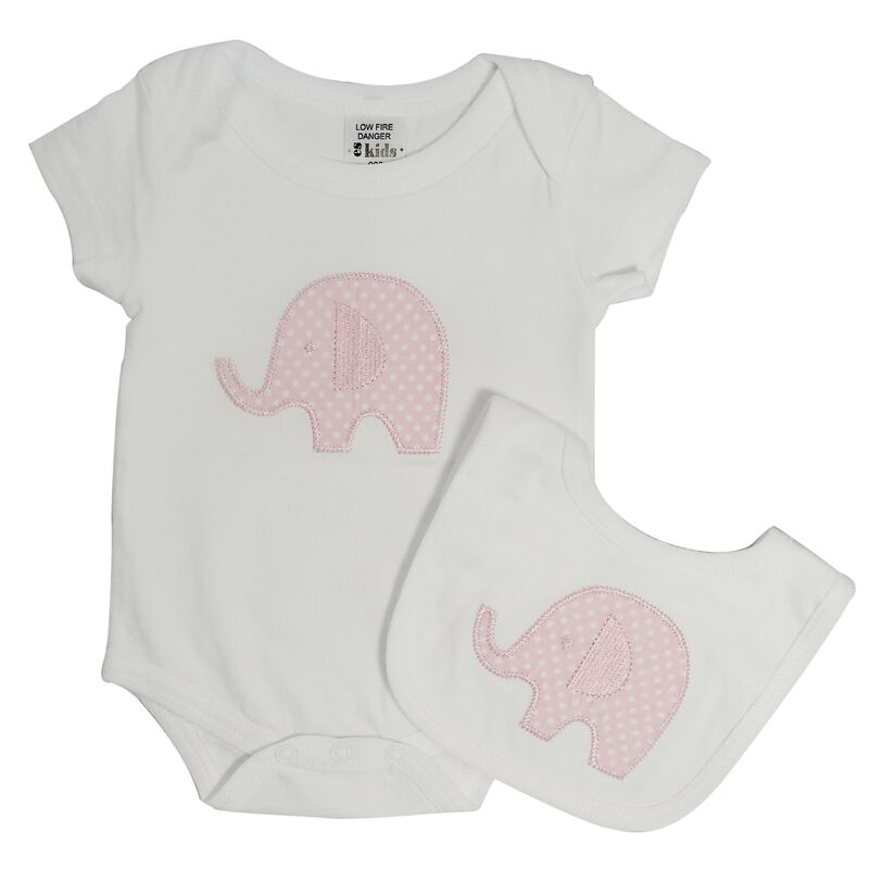 Pink Elephant Onesie and Bib Set