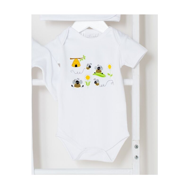 White Bumble Bee Short Sleeve Onesie