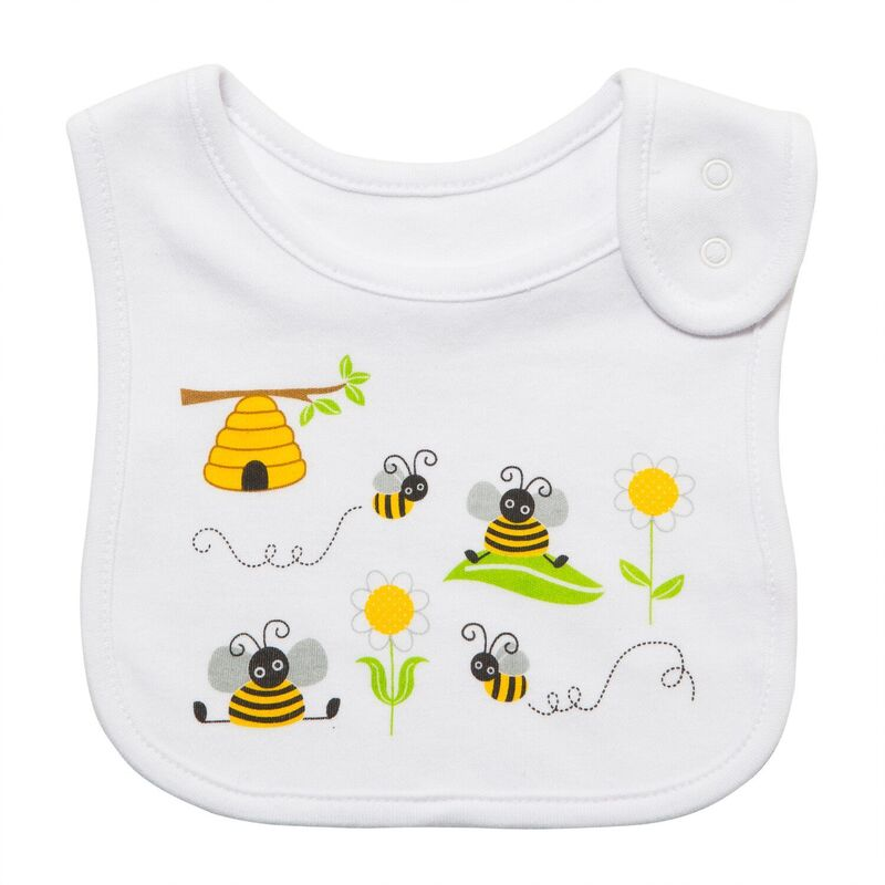 White Bumble Bee Bib