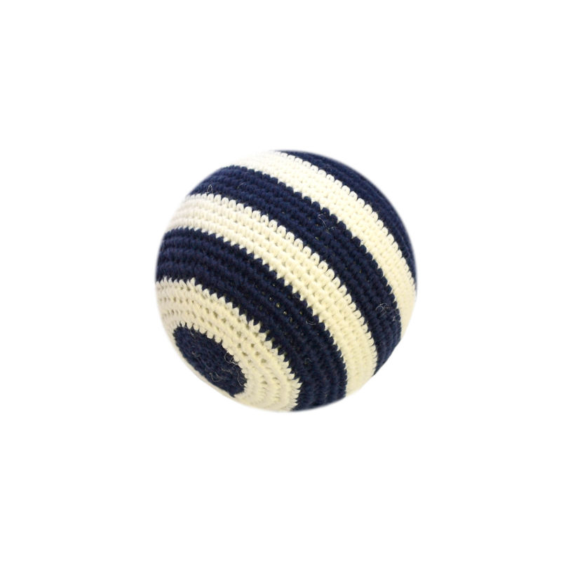 Navy and White Soft Crochet Ball